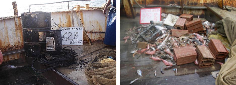 rifiuti marini pescati dai pescatori